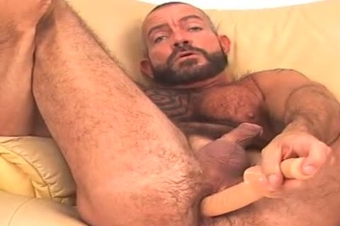 large and hairy, bearded BEAR works ass w/ dildo